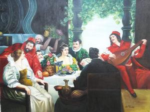 Dipinto olio su tela raffigurante scena commensali intrattenuti da con musicista.